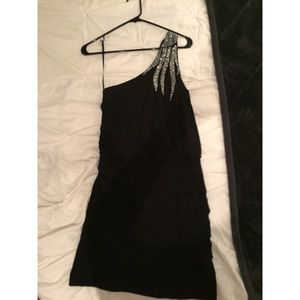 Black and silver studded one shoulder mini dress
